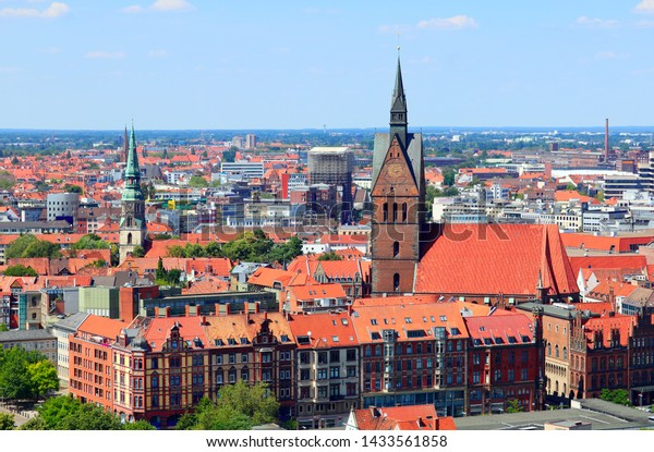 Hannover, Lower Saxony / Germany - June 23 2019: Panoramic skyline view of Hannover (Hanover) city, the capital of Lower Saxony region, Germany