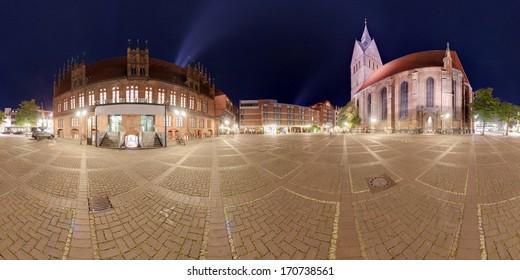 Hannover Marktplatz. Night 360 degree panoramic composition.