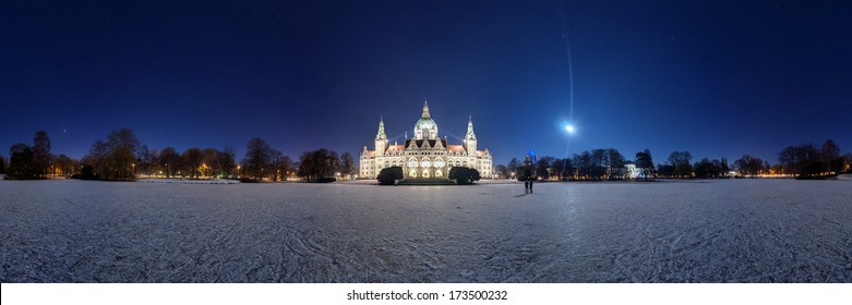 Hannover Rathaus and frozen Maschteich at winter night. 360 degree panorama.