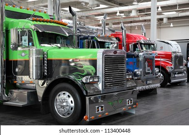 HANNOVER - SEP 20: American Peterbilt Truck at the International Motor Show for Commercial Vehicles on September 20, 2012 in Hannover Germany