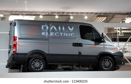 HANNOVER - SEP 20: Iveco Daily Electric Van at the International Motor Show for Commercial Vehicles on September 20, 2012 in Hannover Germany