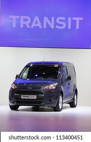 HANNOVER - SEP 20: New Ford Transit Van at the International Motor Show for Commercial Vehicles on September 20, 2012 in Hannover Germany