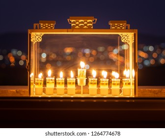 Hannukah candles on the eighth night. It is a Jewish custom to light candles on the 8 days of Hannukah celebrating the miraculous victory over the ancient Greeks during the Second Temple period.