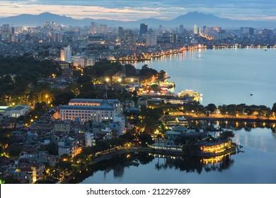 Hanoi cityscape at twilight at West Lake