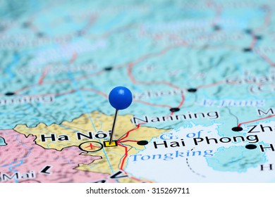 Hanoi pinned on a map of Asia