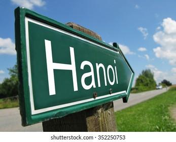 Hanoi signpost along a rural road