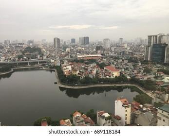 Hanoi Skyline - Bird's eye view over Lake Dong Da and the Metro Station Line 2A