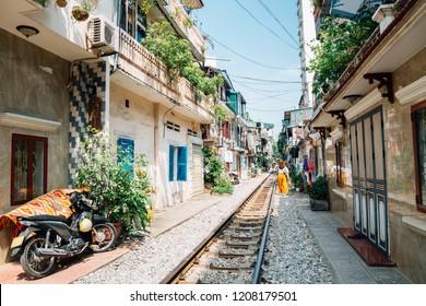Hanoi train street, old house and railroad in Hanoi, Vietnam