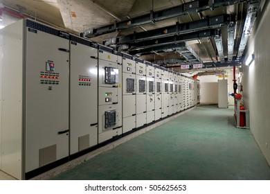 Hanoi, Vietnam 06 August 2016: view in Electric low voltage control room of a senior building in Hanoi, Blokset Schneider