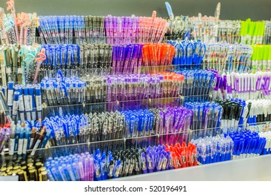 Hanoi, Vietnam 06 November 2016: closed up Colorful pens selling in stationery shop