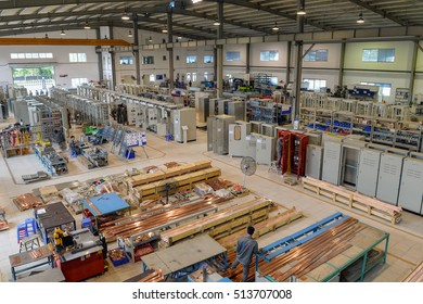 Hanoi, Vietnam, 16 August 2016: view inside of Hawee electric switchboard manufacture in working time