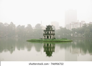 Hanoi, Vietnam - 18th Mar 2017 - Hoan Kiem lake with a Turtle tower in the middle of the lake, this is the heart of Hanoi, Vietnam