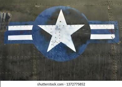 51346c64e Hanoi, Vietnam - 21 February 2019: blue-white star print on an old