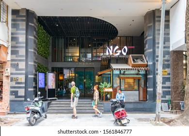 Hanoi, Vietnam - 21st October 2019: The front of The Chi Boutique Hotel and NGO dimsum dining restaurant in Old Quarter, Hanoi, Vietnam