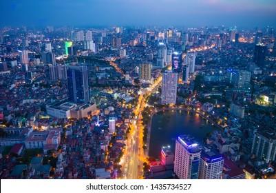 Hanoi, Vietnam - 22th June 2019: Hanoi cityscape at sunset (dusk), from Lotte Observation Deck in Lotte Center, Hanoi.