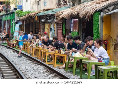 """Hanoi, Vietnam - 23rd June 2019: """"Hanoi Street Train"""" is a place in hanoi Old Quarter where trains pass through very close to people's houses. It is a quirky and interesting tourist destination."""