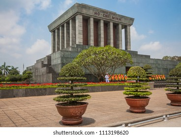 Hanoi, Vietnam - 28th March 2015 - the embalmed body of Ho Chi Minh is preserved in Hanoi, the place where he died. Here in particular the Ho Chi Minh mausoleum, his tomb