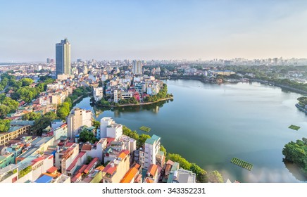 In Hanoi, Vietnam, 28th September, 2015: Urban development capital Hanoi with large beside lakes skyscraper architecture as a luxury resort perfect for watching sunset at West Lake, Hanoi, Vietnam