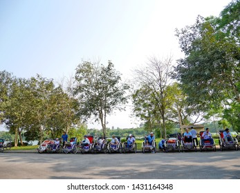 HANOI ,VIETNAM- 5 APRIL;2018: Cyclos is  small and comfortable vehicle to travel to old town Hanoi