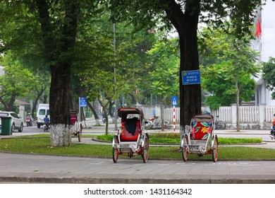 HANOI ,VIETNAM- 6 APRIL;2018: Cyclo small and comfortable vehicle to travel to old town Hanoi