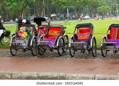 HANOI ,VIETNAM- 6 APRIL;2018: Cyclos is  small and comfortable vehicle to travel to old town Hanoi