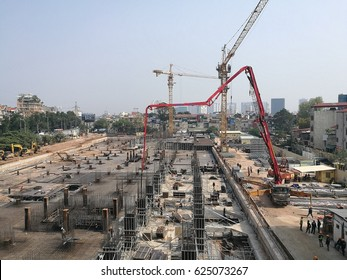 Hanoi, Vietnam - Apr 21, 2017: View from above of construction site of an office and resident building project by Sun Group. Sun is one of the biggest corporation in Vietnam at the moment.