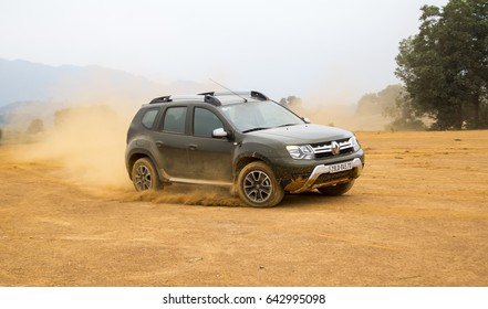 Hanoi, Vietnam - Apr 6, 2017: Renault Duster 4x4 AT 2017 car on the test roads in test drive in Vietnam. Renault Duster is a compact SUV with great off-road capabilities.