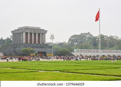 Hanoi, Vietnam - April 17,2019 : Ho Chi Min mausoleum is a large memorial in Hanoi city in Vietnam. It is the embalmed body of former Vietnamese leader president Ho Chi Minh