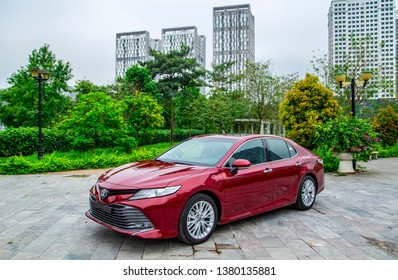 Hanoi, Vietnam - April 4, 2019: Toyota Camry 2019 all new car is on the road in test drive in Vietnam.