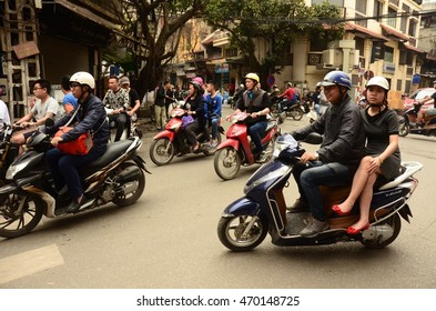 HANOI, VIETNAM - APRIL 4: a busy street on April 4, 2016 in Hanoi, Vietnam. Motorcycles have a modal share of 78% in Hanoi (source: AFD, 2012).