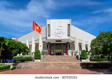 HANOI, VIETNAM - AUG 17, 2015: Visitors entering Ho Chi Minh Museum in Hanoi, Vietnam. Museum was opened in 1990 and contains materials related to Ho Chi Minh and history of Vietnam