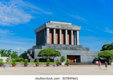 HANOI, VIETNAM - AUG 17, 2015 - Ho Chi Min mausoleum is a large memorial in downtown Hanoi surrounded by Ba Dinh Square. It houses the embalmed body of former Vietnamese leader president Ho Chi Minh