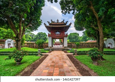 HANOI, VIETNAM - AUG 18, 2018: Van Mieu Quoc Tu Giam or The Temple of Literature was constructed in 1070, first to honor Confucius and In 1076,Quoc Tu Giam as the first university of Vietnam ·