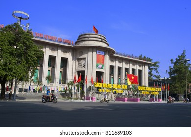 Hanoi, Vietnam - Aug 23, 2015: Building of The State Bank of Viet Nam in Hanoi capital. The State Bank of Vietnam is the central bank of Vietnam and known as the Indochina Bank in the past.