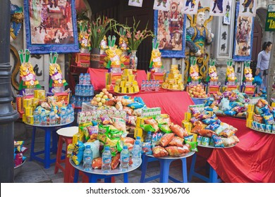 Hanoi, Vietnam - Aug 23, 2015: Offering at old temple in Hanoi on incense offering ceremony day
