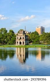 Hanoi, Vietnam - Aug 25, 2014: Hoan Kiem lake, the little lake in the old part of Hanoi, Vietnam