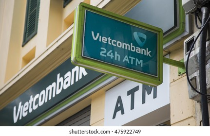 Hanoi, Vietnam - Aug 30, 2016: Close up of the logo of Vietcombank branch office on Cau Go street near Hoan Kiem (Sword) lake. Vietcombank is the one of the biggest state owned banks in Vietnam.