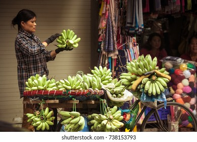 hanoi, vietnam Aug 3,2017: street vendors in hanoi's old quarter, they are selling everything, fruits, vegetable,sounvernir,food, etc...