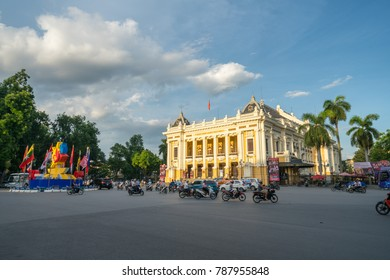 Hanoi, Vietnam - Aug 8, 2017: The front of the French built Opera House in Hanoi