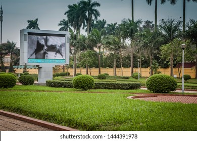 hanoi, vietnam - CIRCA 2017: weather information and public information film on a big outdoor screen in the grounds of the presidential palace