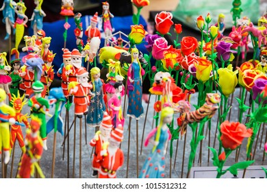 Hanoi Vietnam - Dec 2017: Colorful sugar clay goods in a variety of cute shapes are available at the weekend walking street around Hoan Kiam lake