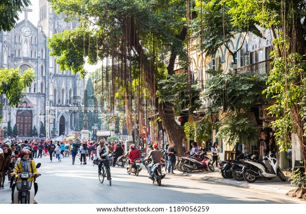 Hanoi Vietnam Dec 2017 Crowd Busy Stock Photo Edit Now 1189056259