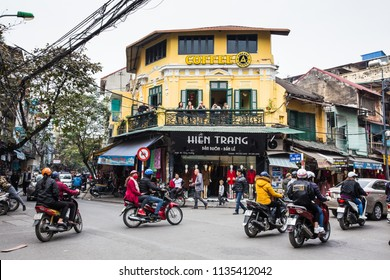 Hanoi Vietnam - Dec 2017: One cute cafe in the old quarter with open balcony on the upper floor which can look over local activities and traffic below