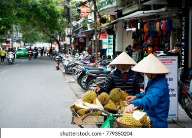 Hanoi - Vietnam. December 03, 2015. Street trading in Old Quarter in Hanoi, Vietnam. Vietnam's capital races to make up for time lost to the ravages of war and a government that as recently as the 199