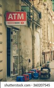 Hanoi, Vietnam - December 06, 2015: view of Techcombank ATM sign in Hanoi Vietnam. old tone