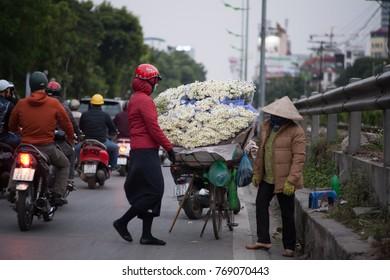 Hanoi Vietnam December 1 2017  Life in Vietnam- Hanoi,Vietnam Street vendors in Hanoi's Old Quarter