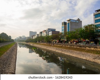 Hanoi, Vietnam - December 19, 2019: View of the To Lich river in the old town.