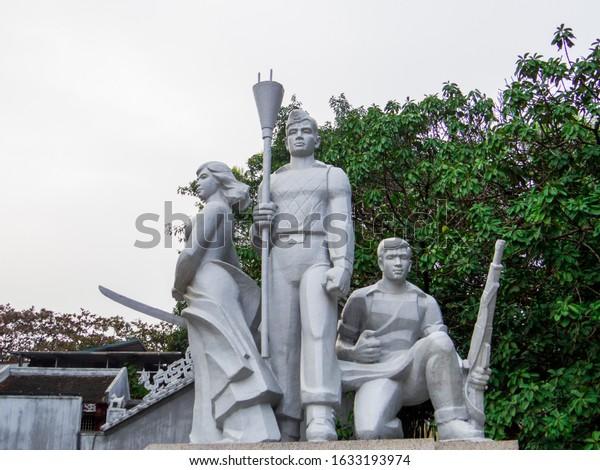 Hanoi, Vietnam - December 19, 2019: View of the Fatherland Monument on Hoan Kiem Lake.