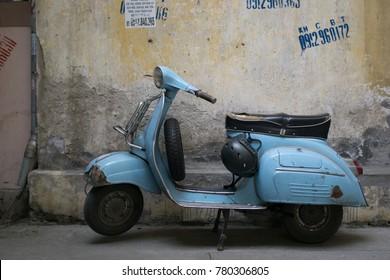 Hanoi Vietnam December 23 2017 Old Vespa in street in Hanoi, Viet nam
