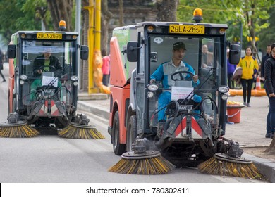 Hanoi Vietnam December 24 2017 Municipal car for cleaning roads and sidewalks outdoors